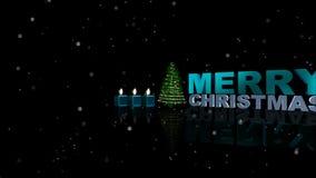 Las luces brillantes animadas en el árbol de navidad verde con nieve del diseñador florecen caer en el fondo del negro oscuro úti stock de ilustración