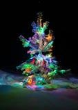 Las luces brillantes de un árbol de navidad natural cubrieron nieve. Fotos de archivo libres de regalías