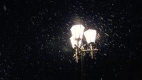 Las luces de la ciudad de la calle iluminan la nieve lentamente que cae L?mpara de calle del invierno de la noche con nieve que c almacen de metraje de vídeo