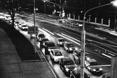 Las luces de la ciudad de la noche imagen de archivo