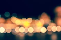 Las luces de la ciudad empañaron el bokeh Imagenes de archivo