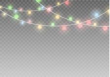 Las luces de la Navidad aislaron elementos realistas del diseño El brillar intensamente se enciende para las tarjetas del día de  Fotos de archivo