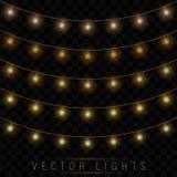Las luces de la Navidad amarillas aislaron elementos realistas del diseño ilustración del vector