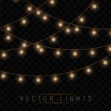 Las luces de la Navidad amarillas aislaron elementos realistas del diseño libre illustration