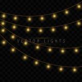 Las luces de la Navidad amarillas aislaron elementos realistas del diseño stock de ilustración