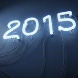 Las luces de neón formaron en la forma del número 2015 stock de ilustración