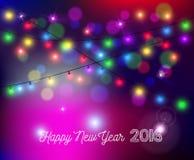 Las luces 2016 del bokeh de la Feliz Año Nuevo empañan la tarjeta del día de fiesta Foto de archivo