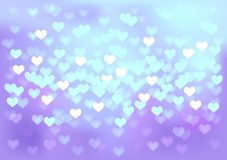 Las luces festivas violetas en corazón forman, vector Imagen de archivo