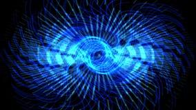 las luces laser del engranaje azul del remolino 4k, tecnología de la energía, ciencia de la radiación, pulso avivan el viento