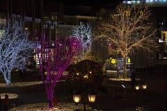 Las luces muestran en la alameda de compras durante período del Año Nuevo en Pekín, China Fotografía de archivo libre de regalías
