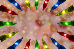 Las luces que destellaban coloridas en el De enfocaron el fondo del círculo con el espacio de la copia Foto de archivo