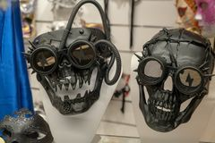 Las máscaras del carnaval de Venecia en una nueva y futurista versión imagen de archivo libre de regalías