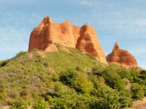 Las Médulas. Leon (Spain). Las medulas is a wonderful landscape maked from golden mountains and green trees. It is an old mine erode by the years Royalty Free Stock Images
