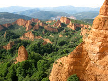 Las Médulas. Leon (Spain). Las medulas is a wonderful landscape maked from golden mountains and green trees. It is an old mine erode by the years Royalty Free Stock Photography