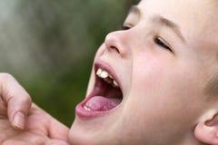 Las madres dan cariñosamente sostener la barbilla del pequeño muchacho hermoso sonriente foto de archivo