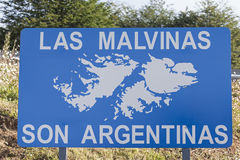 Las Malvinas son Argentinas. Road sign seen in Argentina Royalty Free Stock Photo