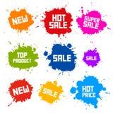 Las manchas blancas /negras de la venta - salpica etiquetas Fotos de archivo libres de regalías