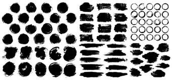Las manchas secas de la pintura cepillan el sistema de los fondos del movimiento ilustración del vector