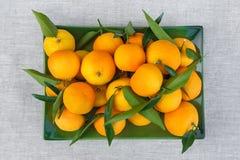 Las mandarinas frescas mienten en una placa verde rectangular y fotografiado desde arriba Imagen de archivo libre de regalías