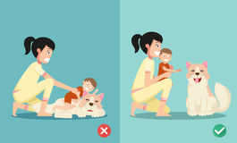 Las maneras correctas e incorrectas para los nuevos padres stock de ilustración
