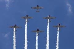 Las maniobras aéreas de preformación de la precisión de Geico Skytypers en Atlantic City Imagen de archivo