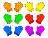 Las manoplas fijadas, guantes de la Navidad de la historieta diseñan, icono, símbolo Ejemplo del vector del invierno aislado en e stock de ilustración