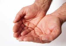 Las manos adultas del ser humano del puñado que la fortuna pide el trabajo ruegan Imagen de archivo libre de regalías