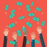 Las manos aumentaron el dinero que lanzaba y de cogida en el aire Fotografía de archivo
