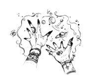 Las manos de la bruja con magia suceden alrededor Diseño de concepto para la impresión, cartel, tatuaje, etiqueta engomada, tarje ilustración del vector
