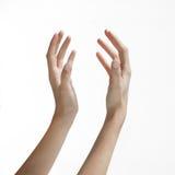Las manos de la mujer que alcanzan para arriba Foto de archivo