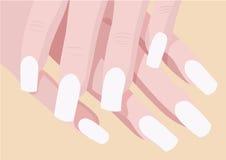 Las manos de Ladys y los fingeres de la manicura con el lugar para el clavo del arte diseñan Imagen de archivo libre de regalías