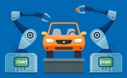 Las manos de los robots recogen en el coche del transportador stock de ilustración
