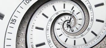 Las manos de reloj blancas del reloj de reloj del diamante moderno torcieron al espiral surrealista Fractal espiral abstracto Pat fotos de archivo