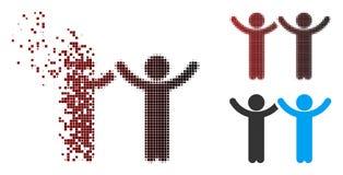 Las manos de semitono destrozadas del pixel suben el icono de los niños ilustración del vector