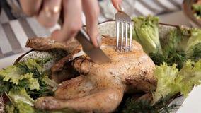 Las manos de un pollo frito cocinado corte de la chica joven Comida, verdes almacen de metraje de vídeo