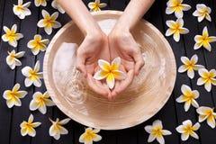 El balneario florece el tratamiento de las manos del agua imagen de archivo libre de regalías