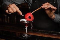 Las manos del camarero que adornan un cóctel rojo beben con una rebanada de una remolacha Imagenes de archivo