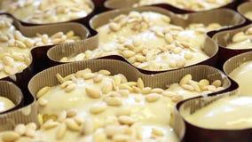 Las manos del chef de repostería pusieron las almendras en la pasta para las palomas de la torta de Pascua almacen de metraje de vídeo