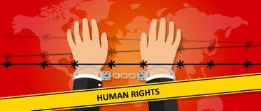 Las manos del ejemplo de la libertad de los derechos humanos bajo crimen del alambre contra símbolo del activismo de la humanidad Foto de archivo libre de regalías