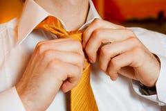 Las manos del hombre puestas atan el nudo el mañana de la boda foto de archivo libre de regalías