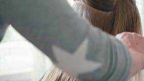 Las manos del peluquero del slowmo del primer peinan el pelo recto mojado del cliente femenino metrajes