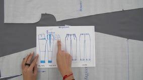 Las manos del ` s de las mujeres preparan un paño y un modelo para los pantalones de costura metrajes