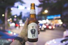 Las manos del ` s del hombre están sosteniendo las botellas de cerveza de Kwai fotos de archivo