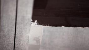 Las manos del trabajador de sexo masculino pintan profesionalmente las paredes grises en blanco con el cepillo grande metrajes