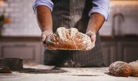 Las manos del varón del ` s del panadero amasan la pasta Fotografía de archivo