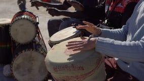 Las manos del viejo hombre caucásico blanco con los individuos marroquíes africanos negros de los jugadores de la percusión juega metrajes