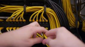 Las manos enchufan el cable de Ethernet metrajes