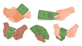 Las manos humanas que sostienen el dinero vector a la parte del cuerpo rica financiera de la gente del hombre de negocios del eje Imagen de archivo
