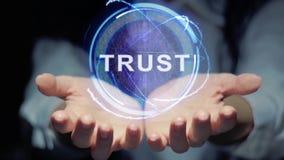Las manos muestran confianza redonda del holograma almacen de video
