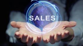 Las manos muestran ventas redondas del holograma libre illustration